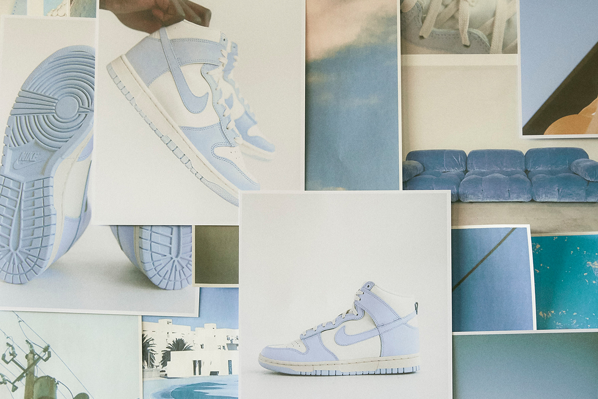 """The Nike WMNS Dunk High """"Football Grey"""" releases at BSTN on Thursday, January 14th, alongside two other Dunk silhouettes, the Dunk Low """"Coast"""" and the Nike Dunk High """"Vast Grey""""."""