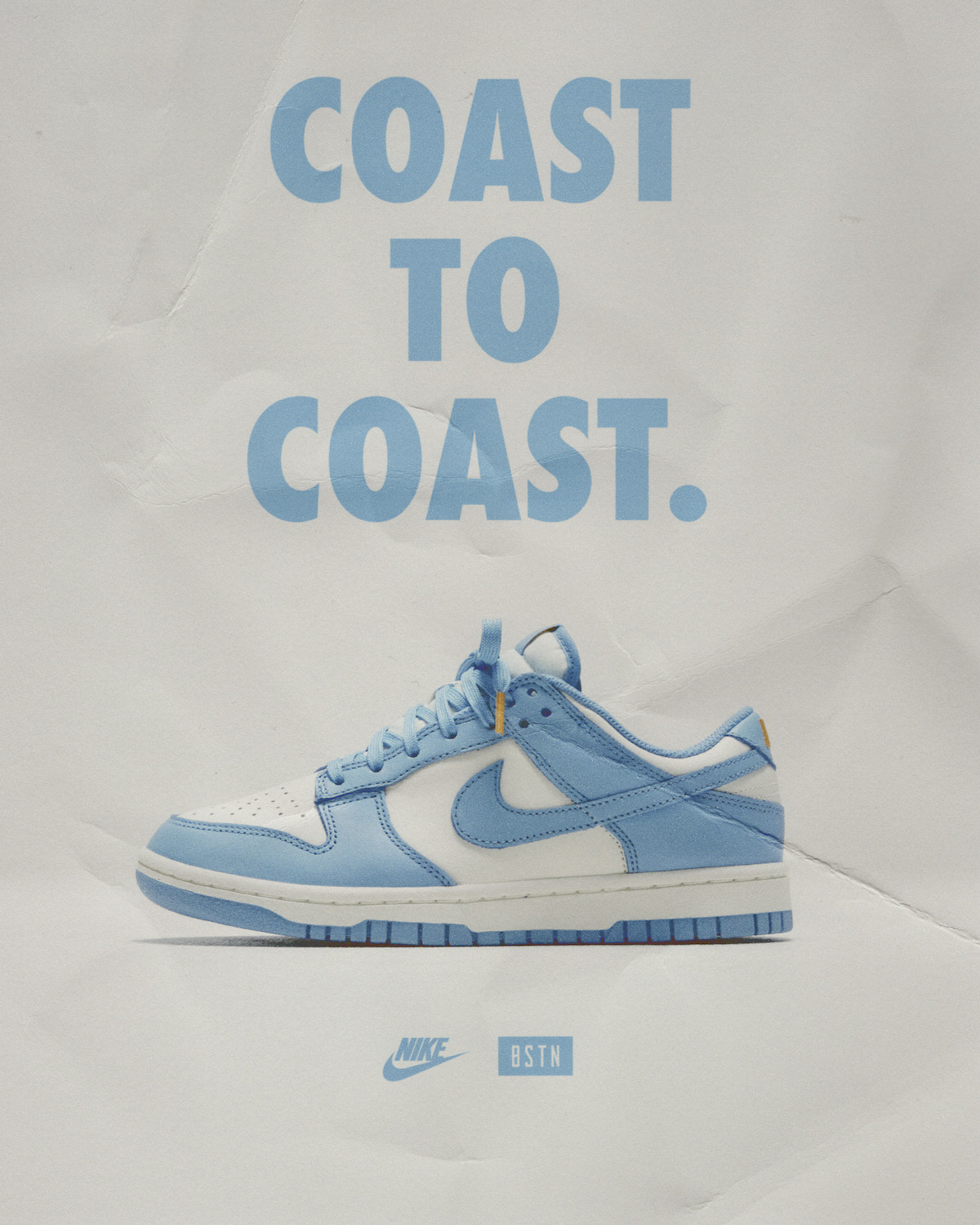 """The Nike Dunk Low """"Coast"""" releases at BSTN on Thursday, January 14th, alongside two other Dunk silhouettes, the WMNS Dunk High """"Football Grey"""" and the Nike Dunk High """"Vast Grey""""."""