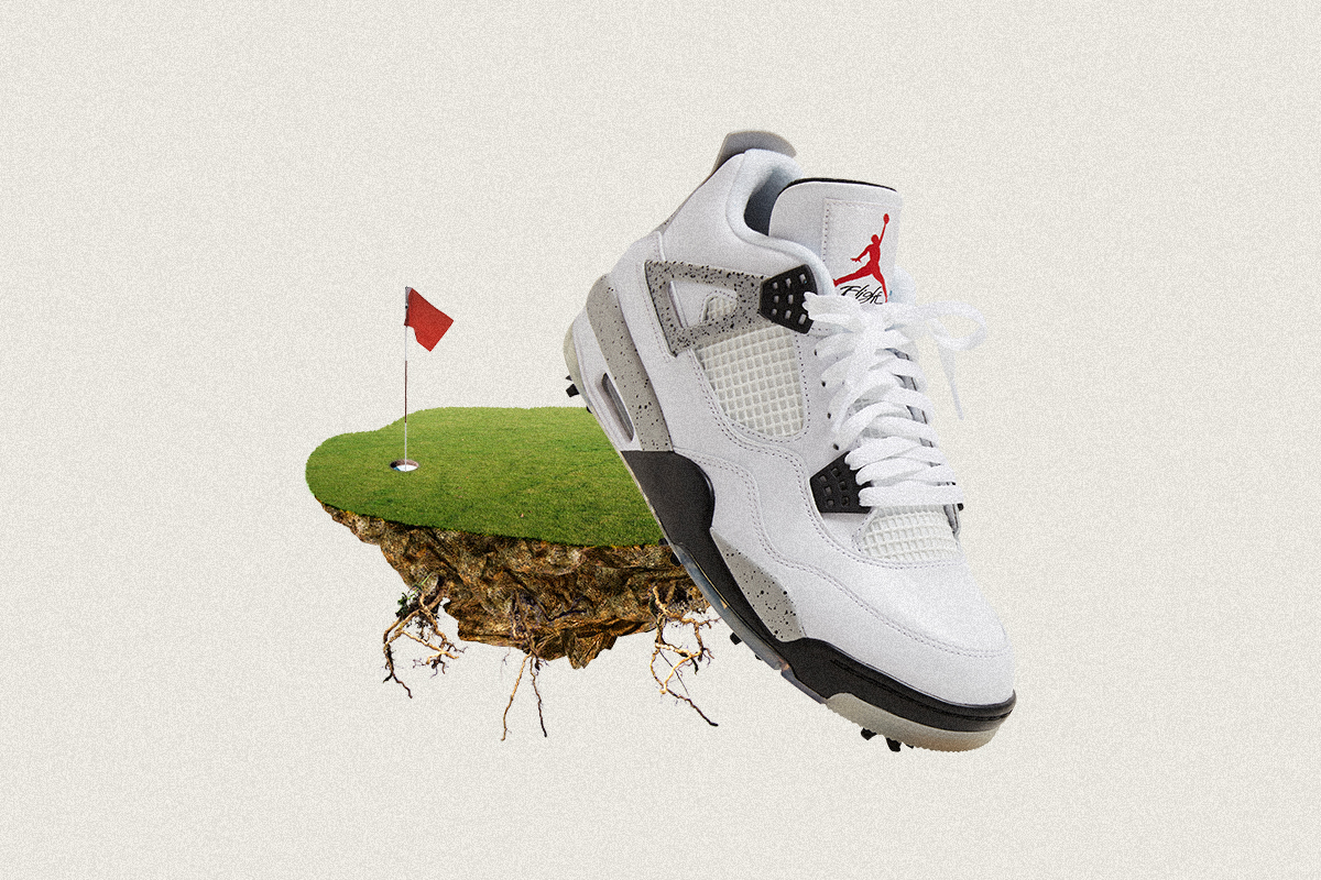 The Air Jordan IV White Cement Golf Edition releases at BSTN on Saturday, February 20th.