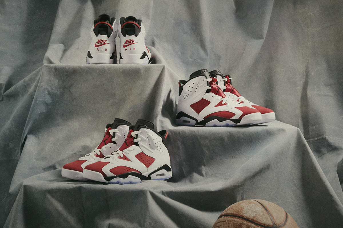 The Air Jordan VI Carmine releases at BSTN on Saturday, February 13th, in Men's and GS sizes.